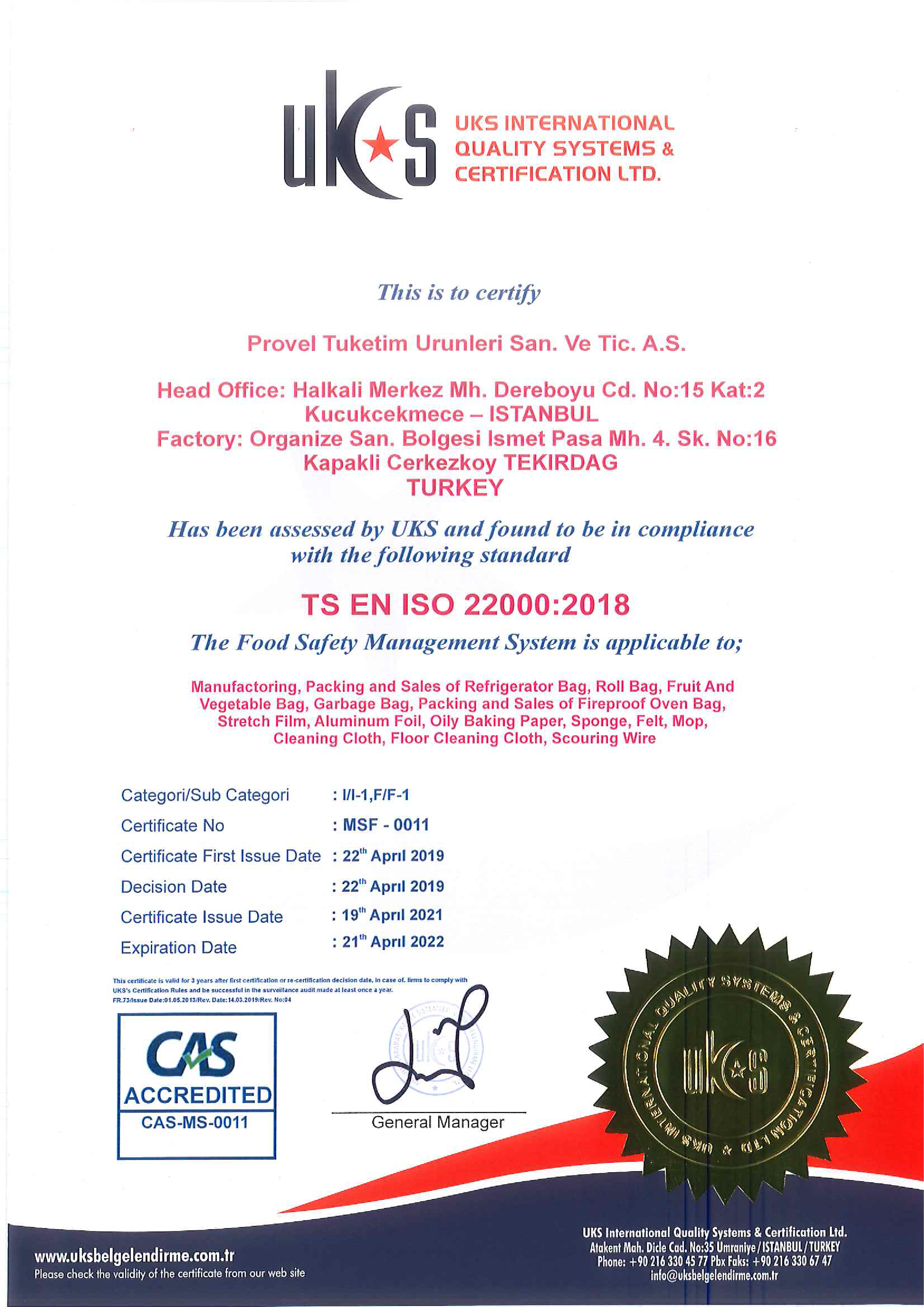 PROVEL 22000 CAS ENG